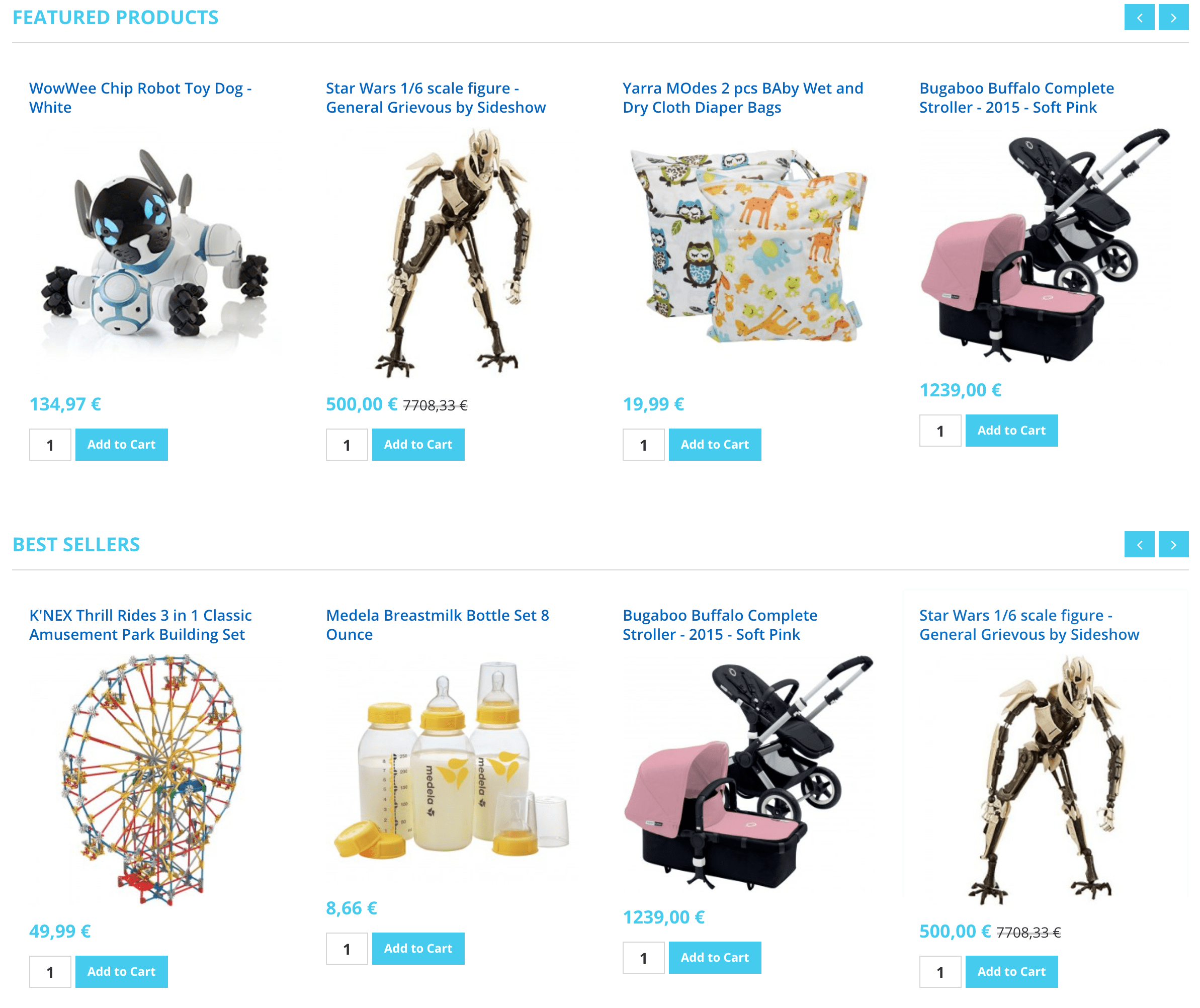 Home Page Featured and Best Seller Products (HikaShop)