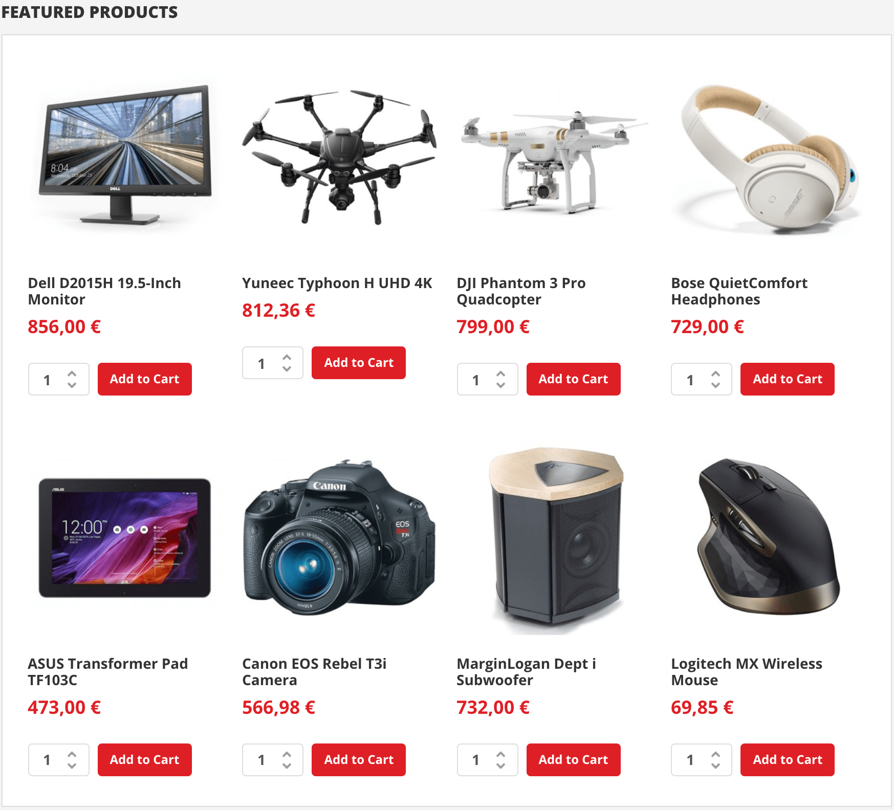 Home Page (Featured Products)