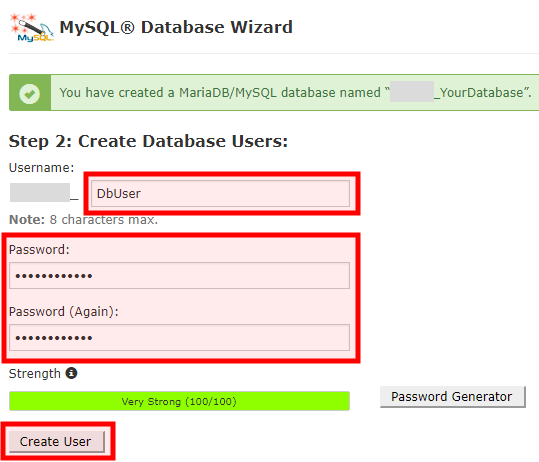 Add Database Username and Password