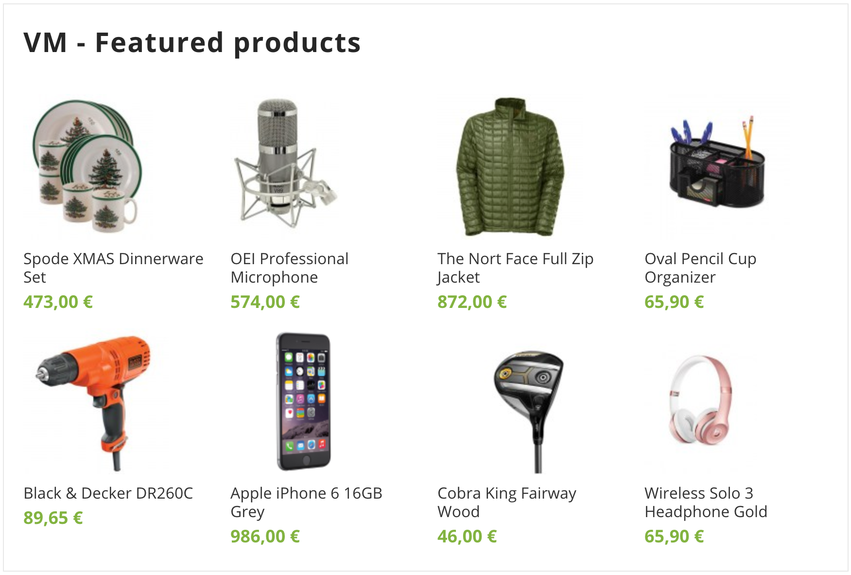 Home Page Best Seller Products (VirtueMart)