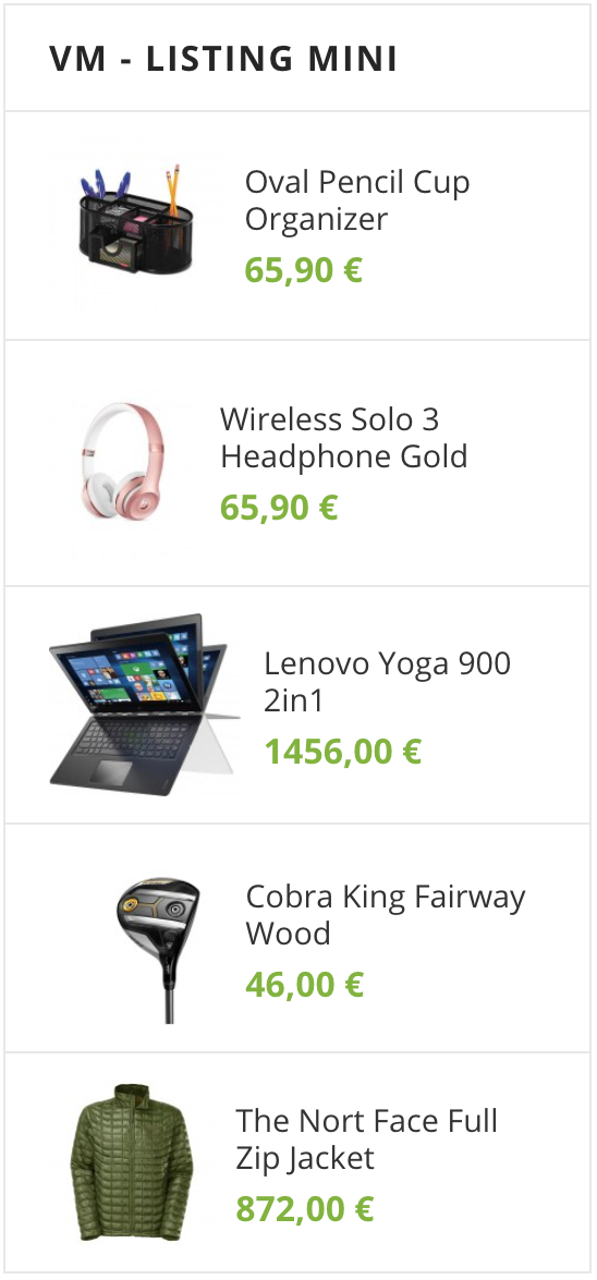 Sidebar Features Products (VirtueMart)