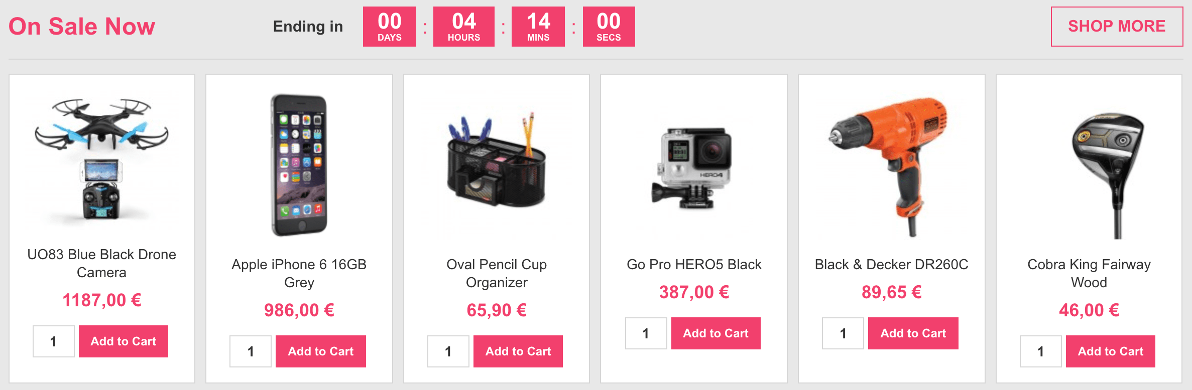 Home Page (Products with countdown)