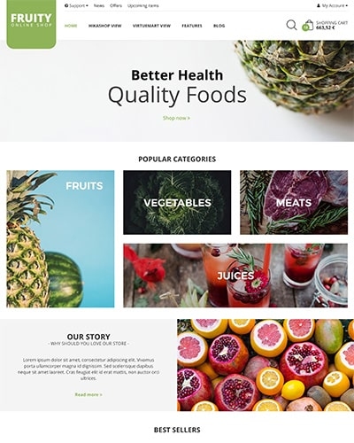 Fruity - Joomla! Template for HikaShop & VirtueMart
