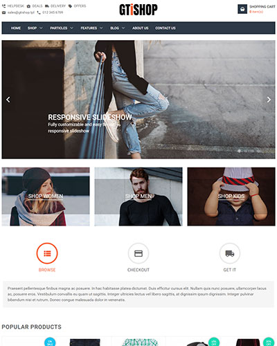 GTiShop - <p>Multipurpose and HikaShop optimized Joomla Ecommerce Template</p>