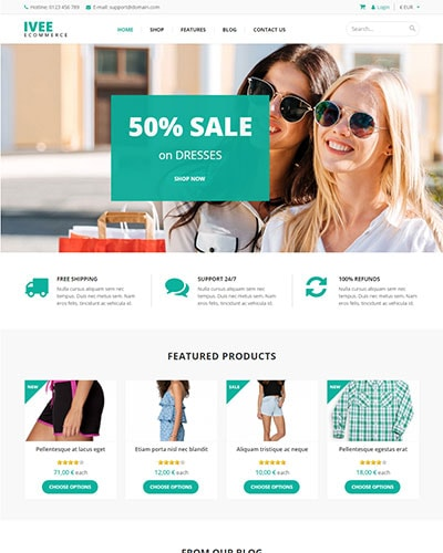 Ivee Ecommerce - Free WordPress Ecommerce Theme for WooCommerce