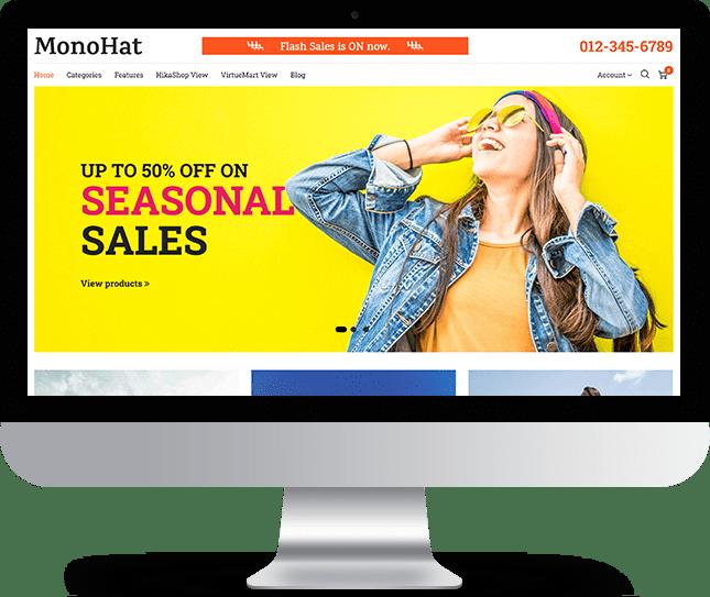 Monohat - Joomla! Template for HikaShop & VirtueMart