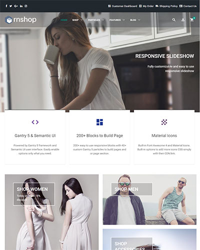 RnShop - <p>Multipurpose and HikaShop optimized Joomla Ecommerce Template</p>
